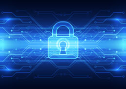 Abstract image of lock and digital identity protection theme