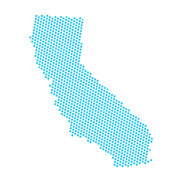 Map of California made of small blue dots