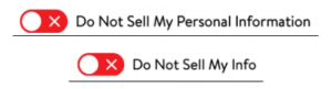 Oval red buttons with white x next to links labeled Do Not Sell My Personal Information and Do Not Sell My Info